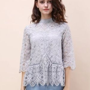 NWT Chicwish Art of Crochet Top in Grey Lace XL